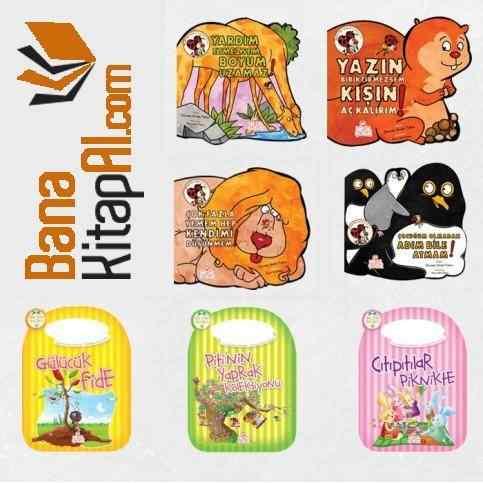 Renkli Karton Kitap Seti -7  kitap  - 1-7 yaş grubu için uygun - Yazar Zeynep Sevde Paksu ve Nurefşan Çağlaroğlu