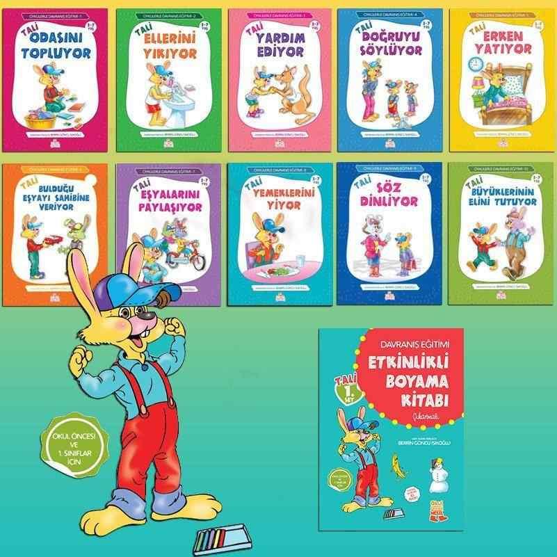 Öykülerle Davranış Eğitimi Serisi Tali 1. Set (3-7 Yaş) + Etkinlikli Boyama Kitabı - 10 kitap 60 TL yerine 42 TL
